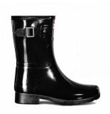 Hunter Regenlaars women original refined short gloss black zwart
