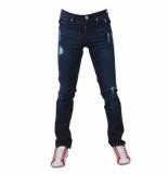Bravo Jeans Heren jeans damaged look slim fit stretch lengte 32 donker blauw