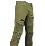 New Stone Biker skinny jeans heren groen