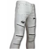 New Stone Te biker skinny jeans heren wit