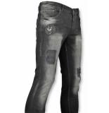 Addict Spijkerbroek met patches heren zwart