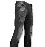 Addict Skinny jeans met patches heren zwart