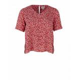 Saint Tropez Leaf blouse ss rood