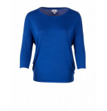 Saint Tropez Knit blouse w rib blauw