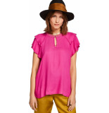 Maison Scotch Rayon top with sporty rib and ruffl candy pink roze