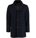 Bos Bright Blue Blue geke coat check 18301ge01sb/290 navy - blauw
