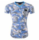 Bravo Jeans Heren tshirt vhals damaged look camouflage blauw