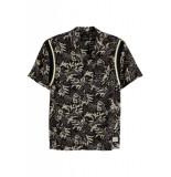 Scotch & Soda Hawaiian fit shortsleeve shirt zwart