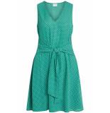 VILA Vidottia s/l dress 14051394 pepper green/cloud dancer groen
