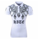 Hite Couture Heren polo slang strass stenen piver wit
