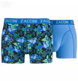 Zaccini 2pack boxershorts bloemen uni blauw