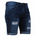 Indicode Heren short damaged look stretch kaden holes medium indigo blauw