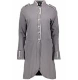Zoso Steffie long milatary blazer 192 grey/white grijs
