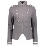 Zoso Sonia military look jacket 192 grey/white grijs