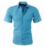 Pradz 2018 Heren korte mouw overhemd met trendy design slim fit azur blauw