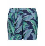 Pieces Pcnadine hw shorts 17098131 maritime blue/leafs blauw