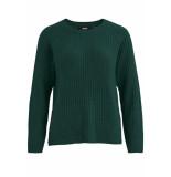 Object Objnonsia rib l/s knit pullover sea 23027812 pine grove groen