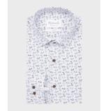 Michaelis Wit fietsprint overhemd (extra lange mouw) blauw