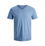 Jack & Jones Jprtreyden aop blu. tee ss split ne 12154611 faded denim/slim fit blauw