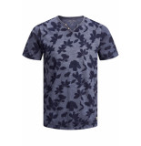 Jack & Jones Jprtreyden aop blu. tee ss split ne 12154611 navy r/slim fit blauw