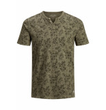 Jack & Jones Jprtreyden aop blu. tee ss split ne 12154611 sea turtle/slim fit groen