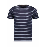 Jack & Jones Jprmatt stripe blu tee ss crew neck 12152760 navy r/slim fit blauw