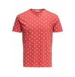 Only & Sons Onspineapple ss ditsy fitted tee 22013251 cranberry rood