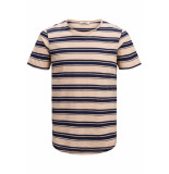 Jack & Jones Jprderek stripe bla tee ss crew ne 12152837 evening sand/slim fit roze
