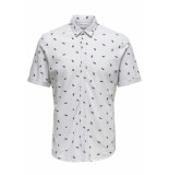 Only & Sons Onscuton ss knitted pique aop shirt 22013293 oyster mushroom grijs