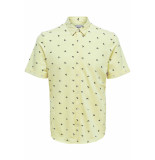 Only & Sons Onscuton ss knitted pique aop shirt 22013293 mellow yellow geel