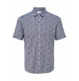 Only & Sons Onscuton ss knitted pique aop shirt 22013293 dress blues blauw