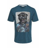 Only & Sons Onsloris ss funny tee 22012566 majolica blue blauw