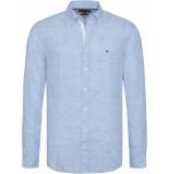 Tommy Hilfiger Slim melange linen shirt mw0mw09884/431 tommy licht blauw