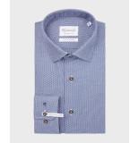 Michaelis Birdseye shirt met bruine knoop (extra lange mouwen) blauw