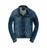 Superdry – spijkerjas – patched denim stormy blue blauw