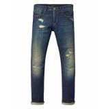 Scotch & Soda Jeans disstressed stitches blue blauw