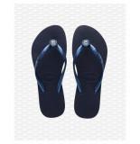 Havaianas Crystal poem navy slipper blauw