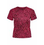 Only Onlnete s/s o-neck top cs jrs 15194034 neon pink/leo bordeaux