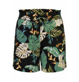 Only Onlpiper mw paperbag aop shorts tlr 15176596 black/w. cloud dancer zwart