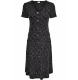 Jacqueline de Yong Jdylauren s/s button dress jrs 15180692 dark grey melan/melange grijs