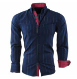 Montazinni Heren overhemd gestreept slim fit blauw