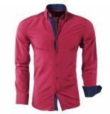 Montazinni Heren overhemd gestreept slim fit rood