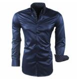 Montazinni Heren overhemd gestreept kreuk en strijkvrij blauw