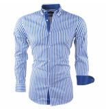 Montazinni Heren overhemd gestreept blauw