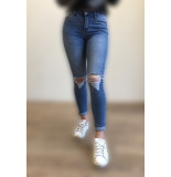 Queen Hearts 605 busted knee broek – blauw