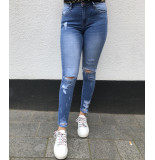 Queen Hearts Jeans rips detail blauw