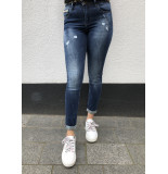 Queen Hearts Jeans roll up hem donkerblauw