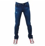 Bravo Jeans Heren jeans damaged look slim fit stretch lengte 32 blauw
