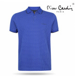 Pierre Cardin Heren polo gestippeld royal blue blauw