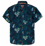 Superdry Miami loom shirt tropical bird indigo blauw